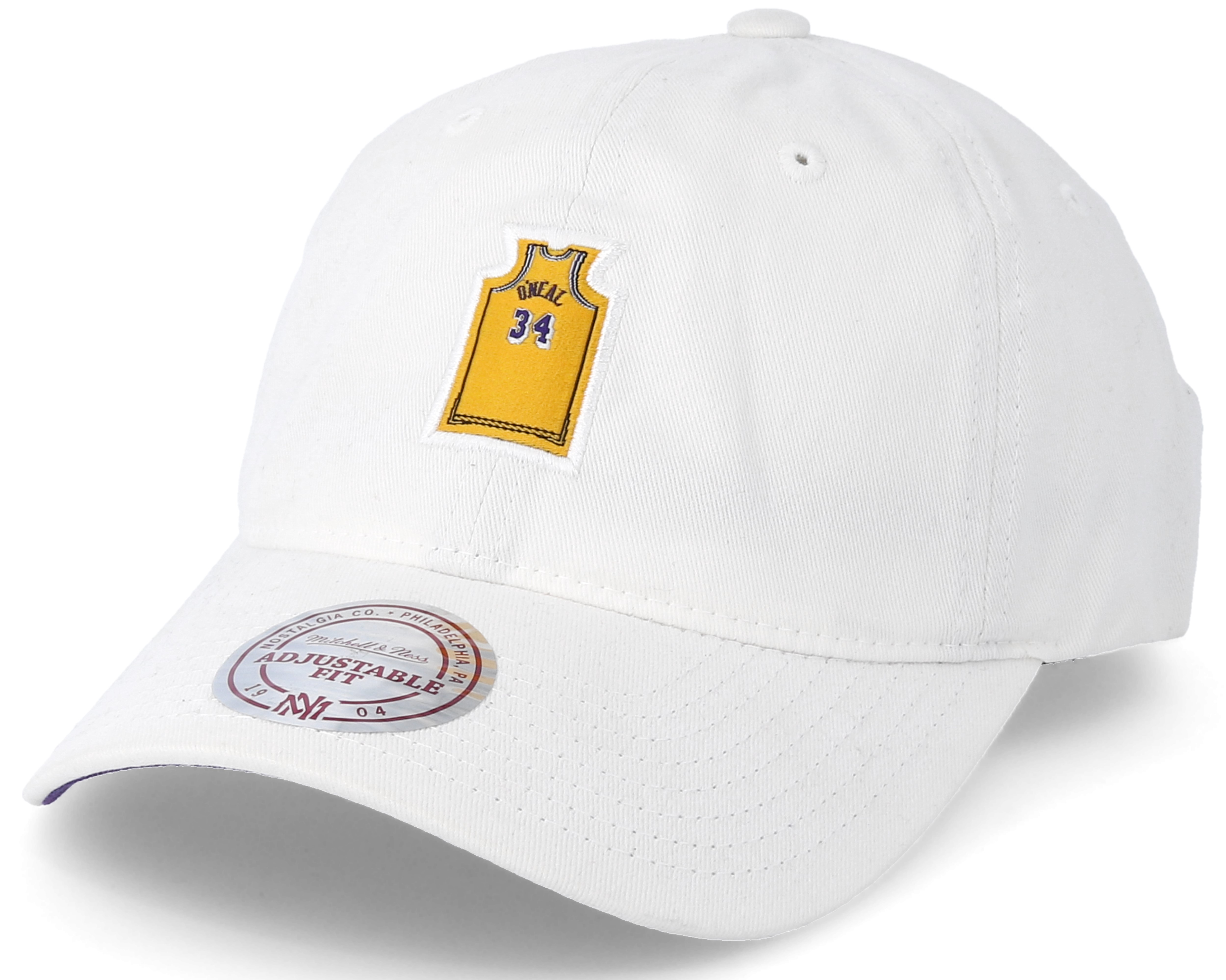 5e5e9fcc Los Angeles Lakers Small Jersey Dad Hat White Adjustable - Mitchell ...