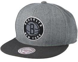 Brooklyn Nets Heather Reflective Grey Snapback - Mitchell & Ness