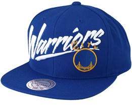 164f6ce2 Golden State Warriors Vice Script Solid Blue Snapback - Mitchell & Ness