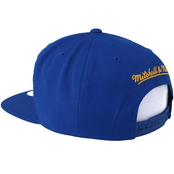 90c3930c97901 Golden State Warriors Vice Script Solid Blue Snapback - Mitchell   Ness caps