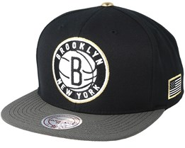 Brooklyn Nets Gold Tip Black Snapback - Mitchell & Ness