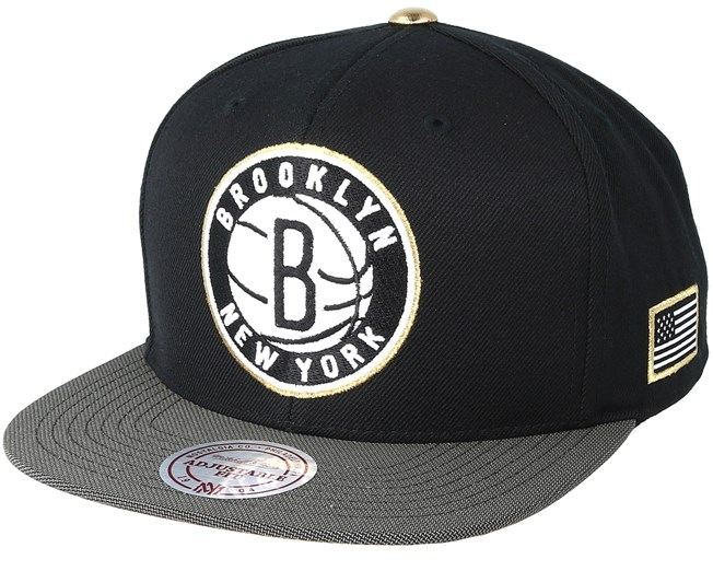 Brooklyn Nets Gold Tip Black Snapback - Mitchell   Ness - Start Cappellino  - Hatstore 742e16a3383a