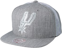 San Antonio Spurs Tonal Short Hook Heather Grey Snapback - Mitchell & Ness