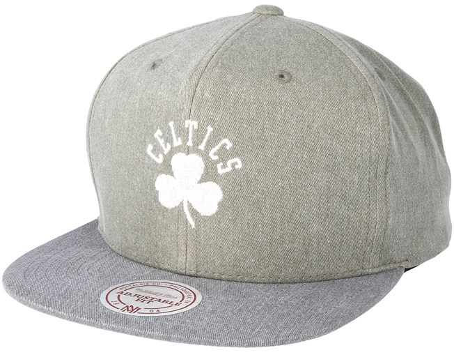 Boston Celtics Washed Twill 2 Tone Olive Snapback - Mitchell   Ness - Start  Cappellino - Hatstore 83c0bef180fc