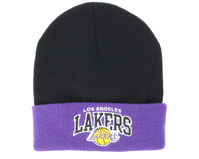 d96e15d3171a44 Los Angeles Lakers Team Arch Knit Black Cuff - Mitchell & Ness beanies |  Hatstore.ie