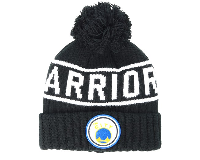 e56f0d52c91 Golden State Warriors Glow In The Dark Knit Black Pom - Mitchell   Ness  beanies - Hatstoreworld.com