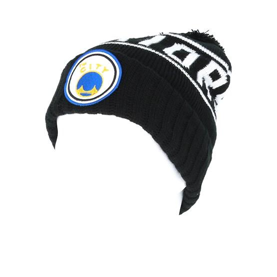 354d55618af Golden State Warriors Glow In The Dark Knit Black Pom - Mitchell   Ness  beanies - Hatstoreworld.com