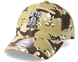 Brooklyn Nets Dad Hat Desert Camo Adjustable - Mitchell & Ness