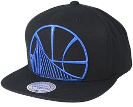 b1e612b5b0c9c Golden State Warriors Metallic Tc Cropped Black Snapback - Mitchell   Ness