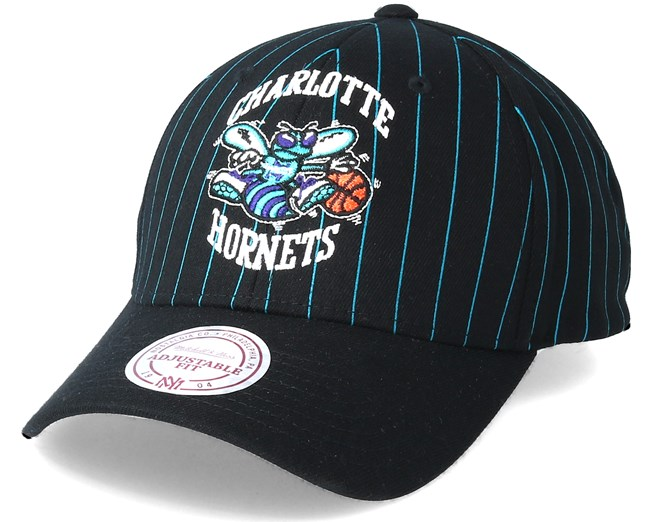 Charlotte Hornets Pinstripe Black Adjustable - Mitchell   Ness caps ... 2c96582a15c9