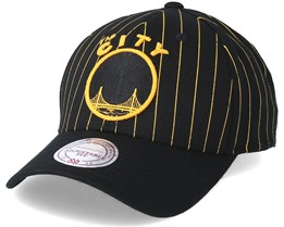 Golden State Warriors Pinstripe Black Adjustable - Mitchell & Ness