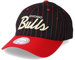 Chicago Bulls Pinstripe Black Adjustable - Mitchell & Ness