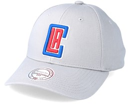 LA Clippers Team Logo Low Profile Grey Adjustable - Mitchell & Ness