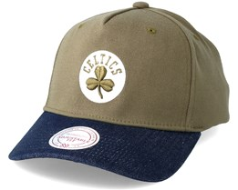 Boston Celtics Denim Visor Olive Adjustable - Mitchell & Ness