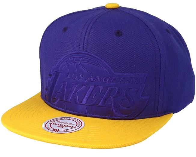 96191181a9368 LA Lakers Cropped Satin Purple Snapback - Mitchell   Ness caps -  Hatstoreworld.com