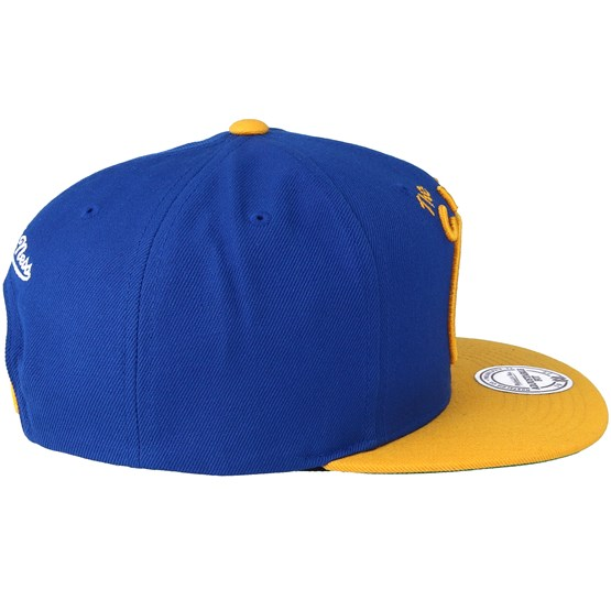 new style 329ae 9d9c0 Golden State Warriors XL Logo 2 Tone Yellow Blue 3 Snapback - Mitchell    Ness cap - Hatstore.co.in