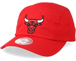 Chicago Bulls Perforated Faded Camper Red Adjustable - Mitchell & Ness
