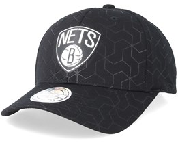 Brooklyn Nets Debossed Stretch Current 110 Black Adjustable - Mitchell & Ness