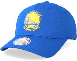 Golden State Warriors Debossed Stretch Current 110 Blue Adjustable - Mitchell & Ness