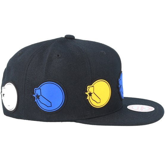the best attitude 484fd b5592 Golden State Warriors Multi Logo Black Snapback - Mitchell   Ness cap -  Hatstore.co.in