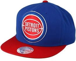 Detroit Pistons XL Logo 2 Tone Red/Blue 2 Snapback - Mitchell & Ness