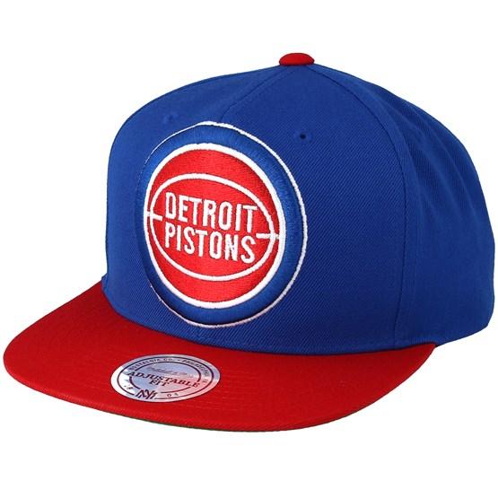 21cf97848c0 Detroit Pistons XL Logo 2 Tone Red Blue 2 Snapback - Mitchell   Ness caps -  Hatstoreaustralia.com