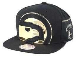 Atlanta Hawks Patent Cropped Black Snapback - Mitchell & Ness