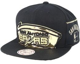 San Antonio Spurs Patent Cropped Black Snapback - Mitchell & Ness