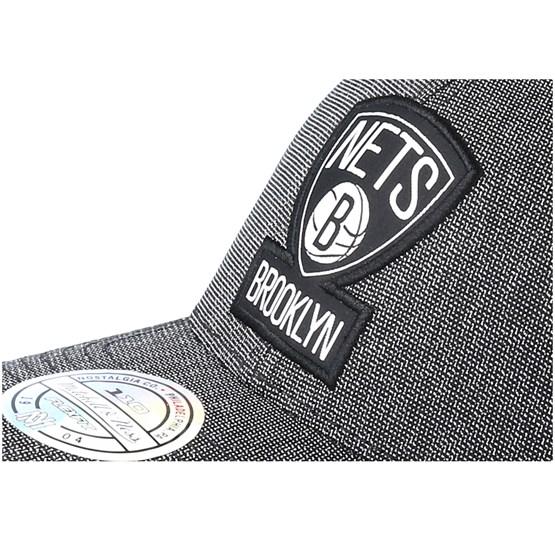 fee3b99a2a493 Brooklyn Nets Stretch Melange Black Grey 110 Adjustable - Mitchell   Ness  caps - Hatstorecanada.com