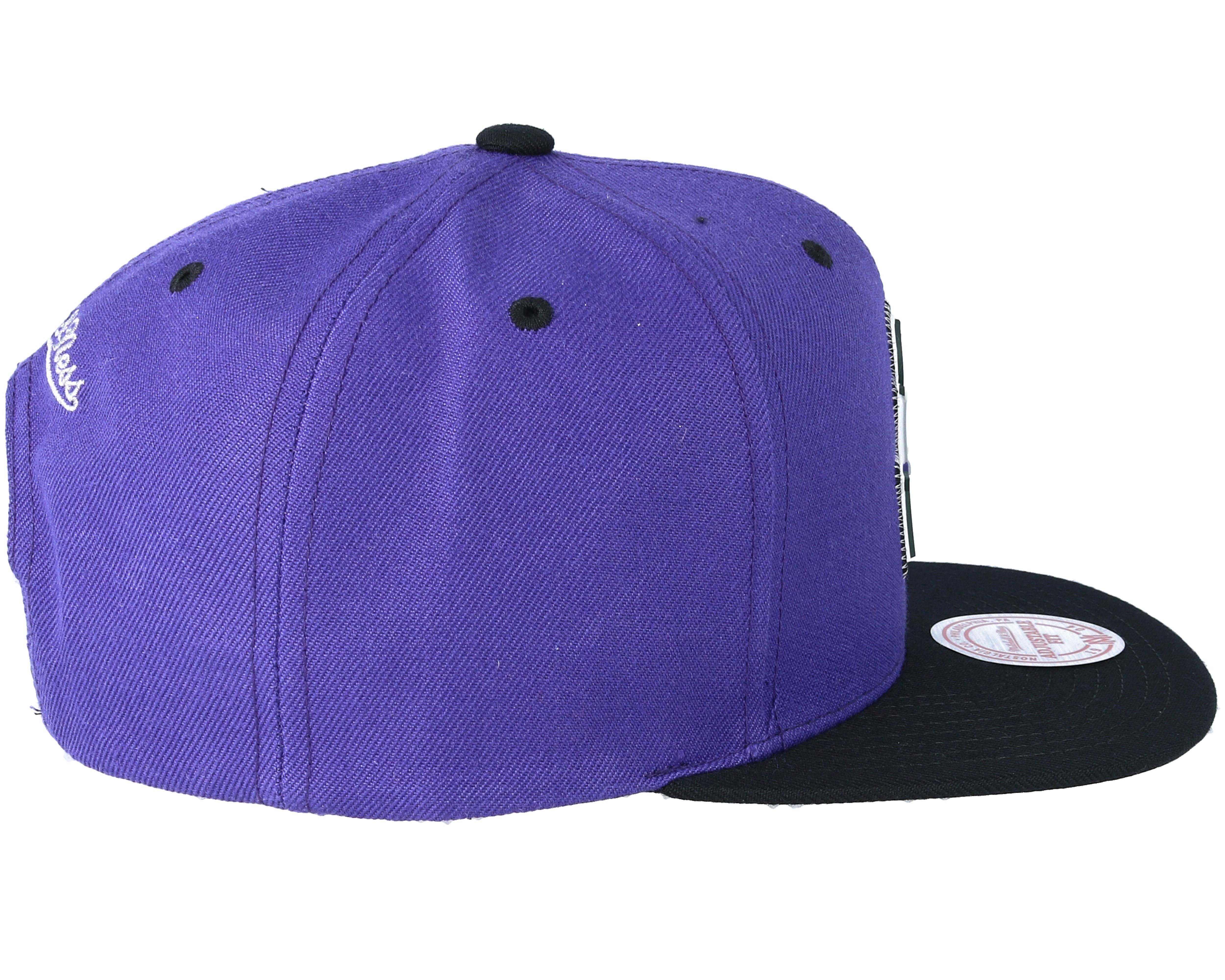 Mitchell /& Ness Milwaukee Bucks Team Standard Snapback Adjustable Purple Hat