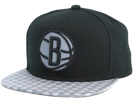Brooklyn Nets Primary Reflect Black Snapback - Mitchell & Ness