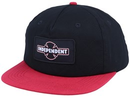 Dual Pinline 5-Panel Black/Red Snapback - Independent
