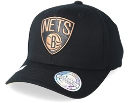 Brooklyn Nets Leather Logo Black 110 Adjustable - Mitchell & Ness