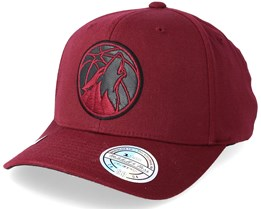 Minnesota Timberwolves Leather Logo Burgundy 110 Adjustable - Mitchell & Ness
