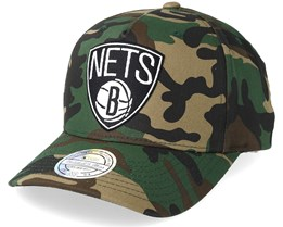 Brooklyn Nets Outline Logo Woodland Camo 110 Adjustable - Mitchell & Ness