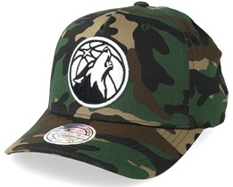Minnesota Timberwolves Outline Logo Woodland Camo 110 Adjustable - Mitchell & Ness