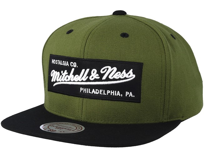 dced1994a92 Branded Box Logo Deep Olive Black Snapback - Mitchell   Ness caps -  Hatstoreworld.com