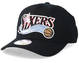 f9adfcbadc5 Philadelphia 76ers Jersey Logo 110 Black Adjustable - Mitchell   Ness
