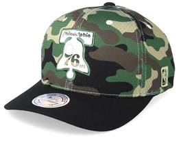 Philadelphia 76ers Mesh 110 Camo/Black Adjustable - Mitchell & Ness