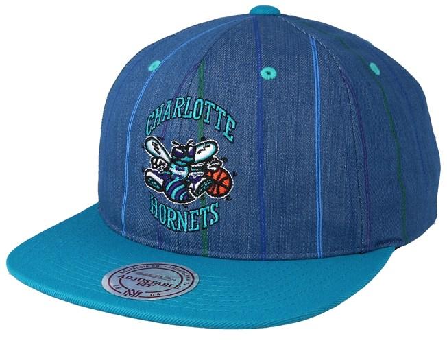 sale retailer e06ab e9b44 Charlotte Hornets Pinstripe Denim Teal Snapback - Mitchell   Ness caps -  Hatstoreworld.com
