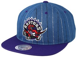 Toronto Raptors Pinstripe Denim/Purple Snapback - Mitchell & Ness