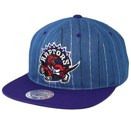 new style 0dc77 37e5b Only 1 in stock! Mitchell   Ness Toronto Raptors Pinstripe Denim Purple  Snapback ...