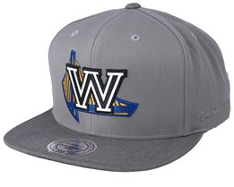 Golden State Warriors Overlap Grey Snapback - Mitchell & Ness