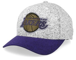 LA Lakers No Rest Speckle White/Purple 110 Adjustable - Mitchell & Ness