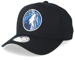 Minnesota Timberwolves Chrome Logo Black 110 Adjustable - Mitchell & Ness