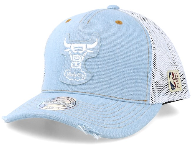 super popular b9054 89ad6 Chicago Bulls Denim Jersey Light Blue/White Trucker ...