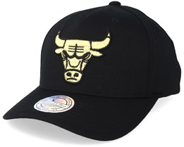 220183d5350 Chicago Bulls Tonal Pinch Panel Black Gold 110 Adjustable Mitchell Ness