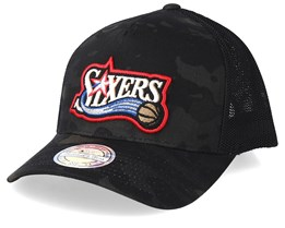 Philadelphia 76ers Multicam Camo/Black 110 Trucker - Mitchell & Ness