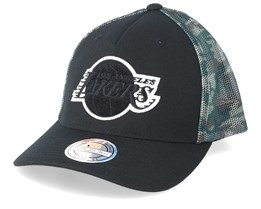 LA Lakers Squad Black/Camo 110 Trucker - Mitchell & Ness