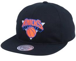 New York Knicks Team Logo Deadstock Throwback Black Snapback - Mitchell & Ness